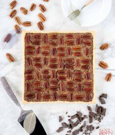 Chocolate Pecan Tart Flatlay