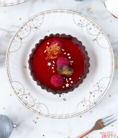Raspberry Panna Cotta Tart Closeup