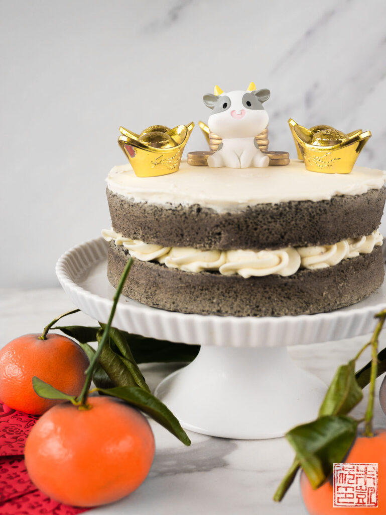 Black Sesame cake closeup