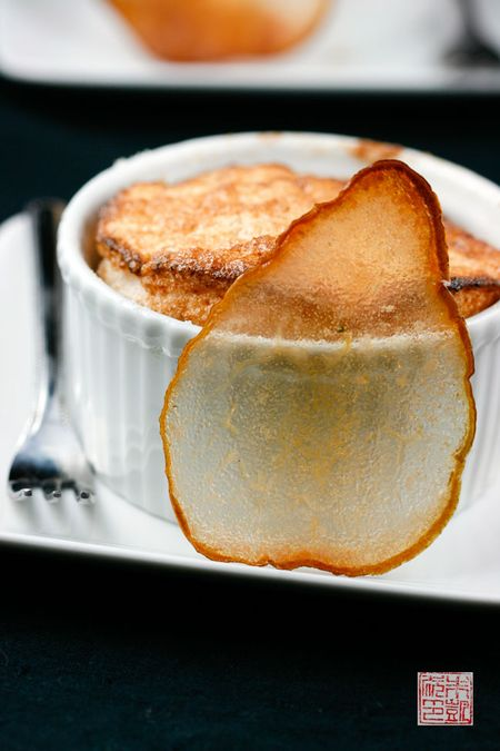 Pear Souffle with Pear Wafers