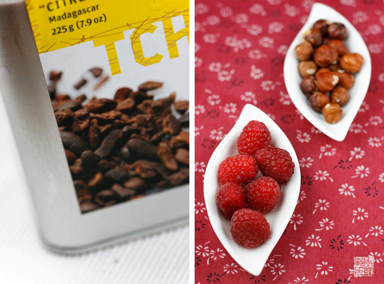 Raspberry Cocoa Nib Coffee Cake with Hazelnut Streusel